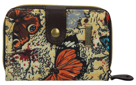 Swanky Swank Atlantis Map & Butterfly Small Purse BeigeCheap Cute School Wallets Purses Bags Animal