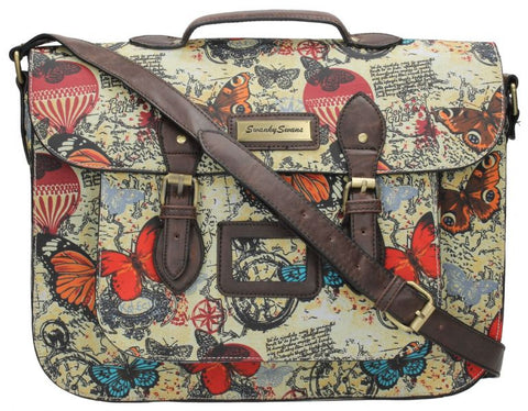 Swanky Swans Atlantis Vintage Map & Butterfly Print Top Handle Satchel Perfect for Back to school!