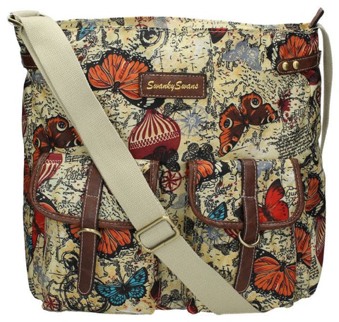 Swanky Swans Atlantis Vintage Map & Butterfly Print Twin Pocket Crossbody BagWomens Girls Boys School Crossbody Animal Cute