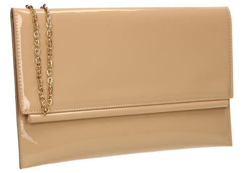 SWANKYSWANS Aubrey Patent Clutch Bag Beige Cute Cheap Clutch Bag For Weddings School and Work