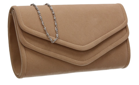 SWANKYSWANS Aspen Flapover Clutch Bag Beige Cute Cheap Clutch Bag For Weddings School and Work