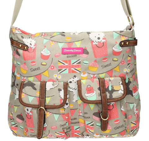 Swanky Swans Biba Dog Cupcake Twin Pocket Crossbody BeigeWomens Girls Boys School Crossbody Animal Cute