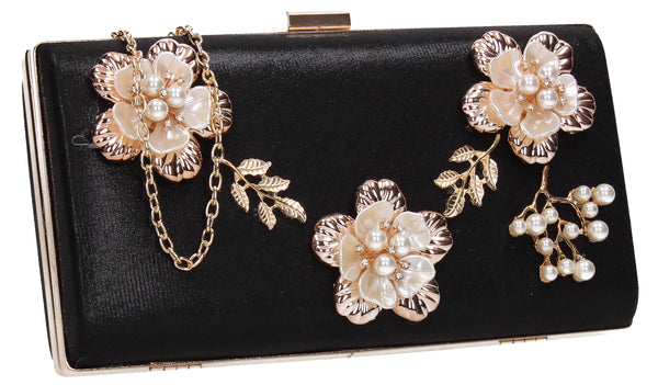 SWANKYSWANS Payton Floral Detail Clutch Bag Black Cute Cheap Clutch Bag For Weddings School and Work