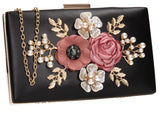 SWANKYSWANS Valery Floral Detail Clutch Bag Black Cute Cheap Clutch Bag For Weddings School and Work