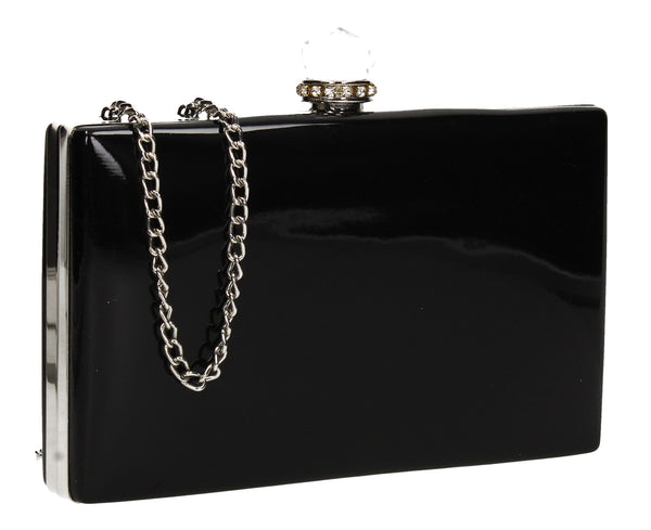 SWANKYSWANS Emilia Patent Clutch Bag Black