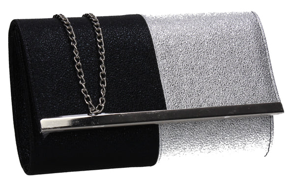 SWANKYSWANS Gia Two Tone Glitter Clutch Bag Black Silver