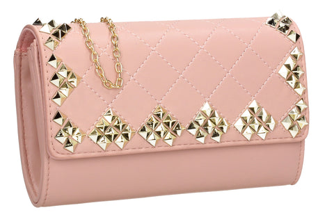 SWANKYSWANS Brittany Diamond Pattern Stud Clutch Bag Blush Cute Cheap Clutch Bag For Weddings School and Work