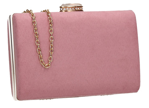 SwankySwans Surrey Suede Clutch Bag Blush Box Shape Clutch Bag Faux Suede Minaudière