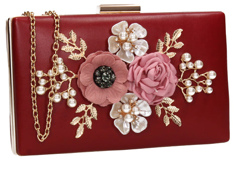SWANKYSWANS Valery Floral Detail Clutch Bag Burgundy Cute Cheap Clutch Bag For Weddings School and Work