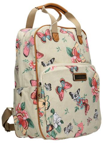 Swanky Swans Casper Butterfly & Flower Backpack BeigeBeautiful cheap school backpack bag