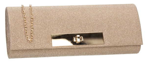 SWANKYSWANS Janet Glitter Clutch Bag Champagne Cute Cheap Clutch Bag For Weddings School and Work