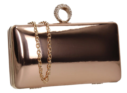 SWANKYSWANS Lyla Patent Clutch Bag Champagne Cute Cheap Clutch Bag For Weddings School and Work