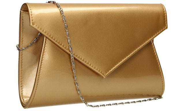 SWANKYSWANS Chrissy Envelope Clutch Bag Gold Cute Cheap Clutch Bag For Weddings School and Work