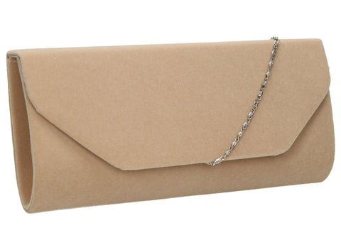 SWANKYSWANS Isabella Velvet Clutch Bag Beige Cute Cheap Clutch Bag For Weddings School and Work