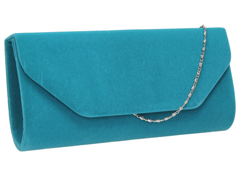 Isabella Velvet Clutch Bag - Light Blue-Clutch Bag-SWANKYSWANS