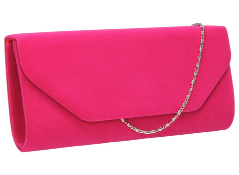 SWANKYSWANS Isabella Velvet Clutch Bag Bright Pink Cute Cheap Clutch Bag For Weddings School and Work