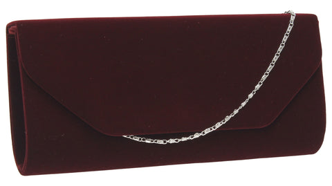 Isabella Velvet Clutch Bag - Burgundy-Clutch Bag-SWANKYSWANS