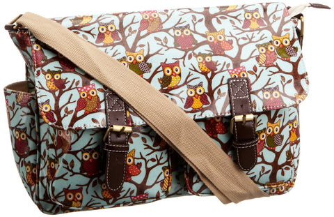 Swanky Swans Classic Tree Owl Double Pocket Satchel Baby Blue Perfect for Back to school!