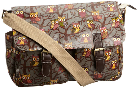 Swanky Swans Classic Tree Owl Double Pocket Satchel Grey Perfect for Back to school!