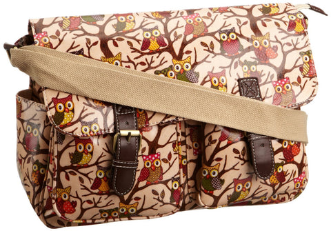 Swanky Swans Classic Tree Owl Double Pocket Satchel Light Pink Perfect for Back to school!