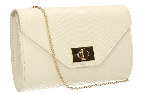 SWANKYSWANS Claudia Envelope Clutch Bag White Cute Cheap Clutch Bag For Weddings School and Work