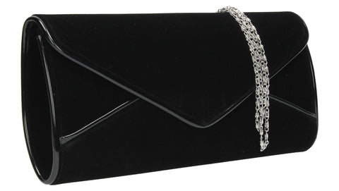 SWANKYSWANS Perry Velvet Clutch Bag - Black Cute Cheap Clutch Bag For Weddings School and Work
