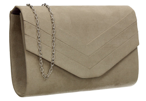 SWANKYSWANS Samantha V Detail Clutch Bag Copley Grey Cute Cheap Clutch Bag For Weddings School and Work