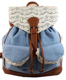 Swanky Swans Denim Lace Detail Backpack BlueBeautiful cheap school backpack bag