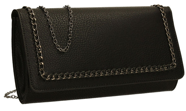 SWANKYSWANS Ella Chain Flapover Clutch Bag Black