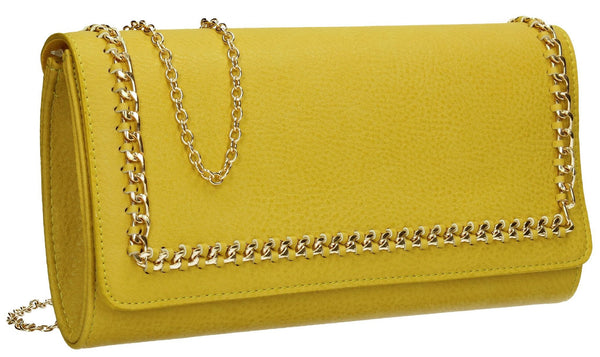 SWANKYSWANS Ella Chain Flapover Clutch Bag Yellow