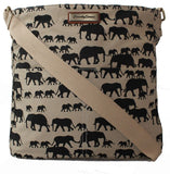 Swanky Swans Ellie Elephant Print Crossbody Bag in BeigeWomens Girls Boys School Crossbody Animal Cute