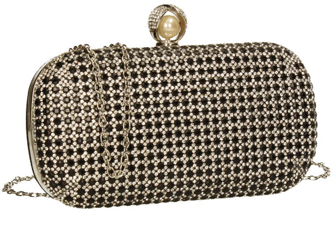 SWANKYSWANS Elsie Diamante Clutch Bag Black