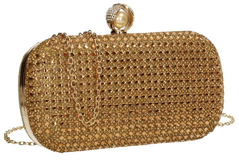 SWANKYSWANS Elsie Diamante Clutch Bag Gold