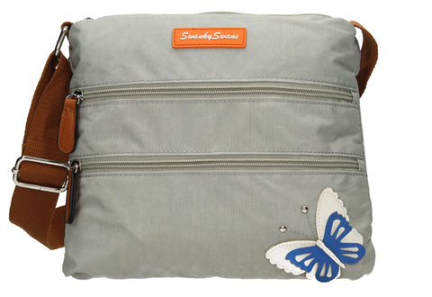 Swanky Swans Emma Nylon Crossbody with 3d Butterfly Motif Light GreyWomens Girls Boys School Crossbody Animal Cute