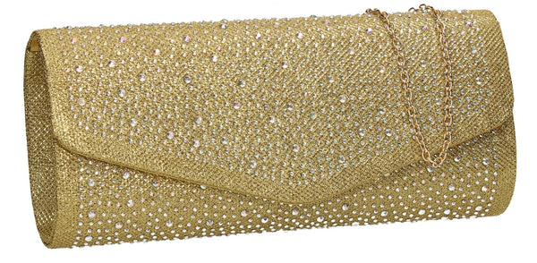SWANKYSWANS Esther Glitter Diamante Clutch Bag Gold