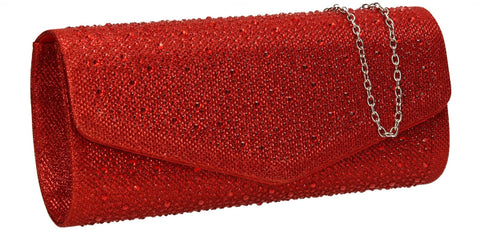 SWANKYSWANS Esther Glitter Diamante Clutch Bag Red