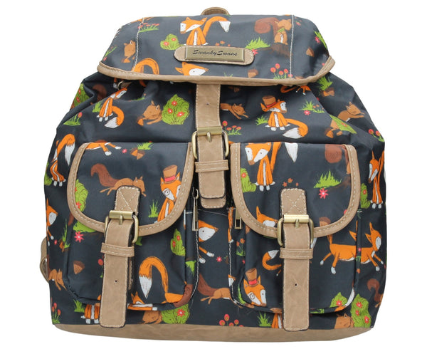 Swanky Swans Freddie Fox & Squirrel Print Classic Backpack Bag NavyBeautiful cheap school backpack bag