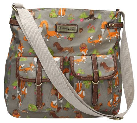 Swanky Swans Freddie Fox & Squirrel Print Saddle Style Zipper Crossbody Bag GreyWomens Girls Boys School Crossbody Animal Cute