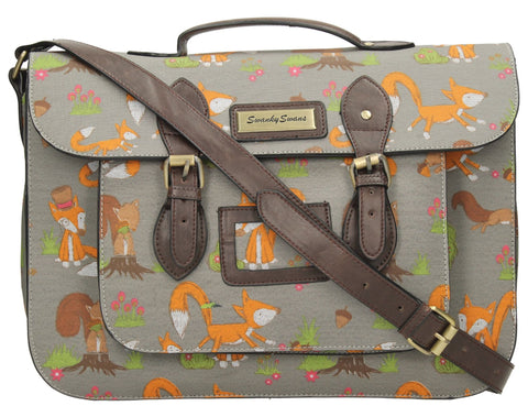 Swanky Swans Freddie Fox & Squirrel Print Top Handle Day Satchel Bag - Grey Perfect for Back to school!