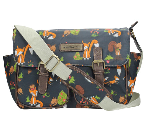 Swanky Swans Freddie Fox & Squirrel Print Twin Pocket School Satchel Bag - Navy Blue Perfect for Back to school!