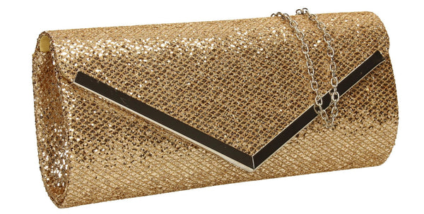SWANKYSWANS Giselle Glitter Clutch Bag Champagne
