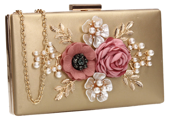 SWANKYSWANS Valery Floral Detail Clutch Bag Gold Cute Cheap Clutch Bag For Weddings School and Work