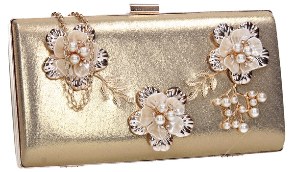 SWANKYSWANS Payton Floral Detail Clutch Bag Gold Cute Cheap Clutch Bag For Weddings School and Work