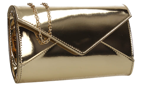 SWANKYSWANS Emely Patent Clutch Bag Gold