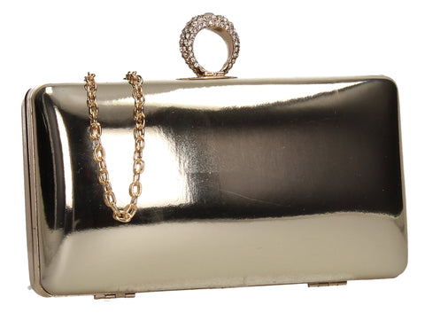 SWANKYSWANS Lyla Patent Clutch Bag Gold Cute Cheap Clutch Bag For Weddings School and Work
