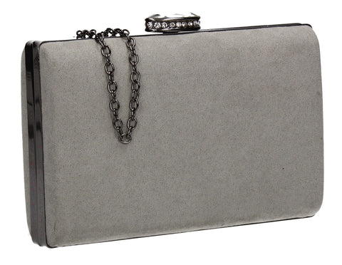 SwankySwans Surrey Suede Clutch Bag Pale Grey Box Shape Clutch Bag Faux Suede Grey Minaudière