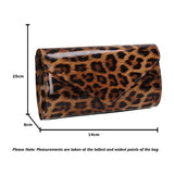 Olivia Patent Envelope Clutch Bag Leopard Brown