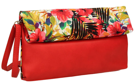 SWANKYSWANS Hannah Floral Clutch Bag Red