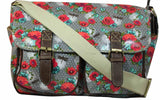 Swanky Swans Hayley Dragonfly & Rose Double Pocket Satchel Grey Perfect for Back to school!