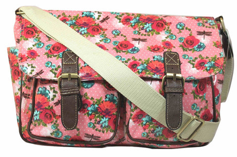 Swanky Swans Hayley Dragonfly & Rose Double Pocket Satchel Pink Perfect for Back to school!